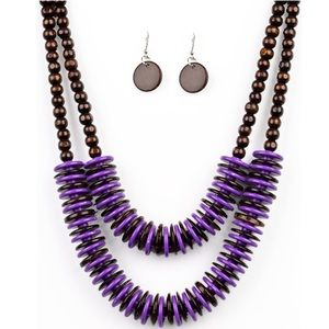 Dominican Disco Purple Brown Wood Necklace Earring